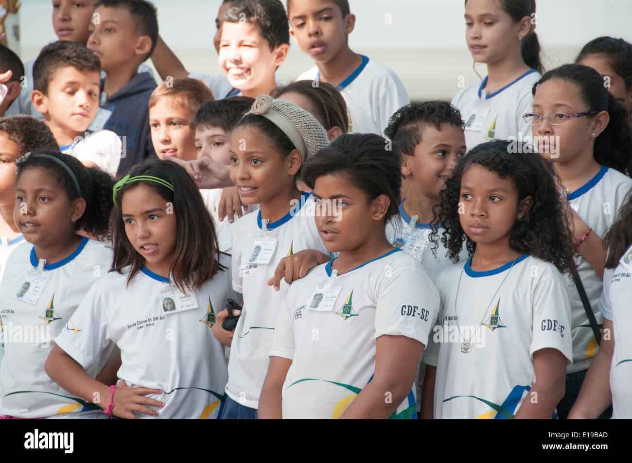 Brazilian Schoolchildren Brasilia - Stock Image