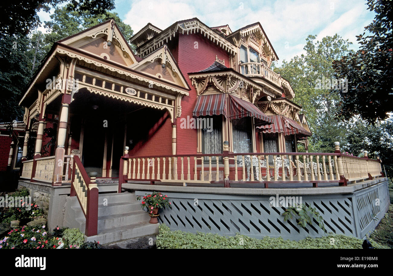 This historic 1889 Victorian home named Rosalie is considered an architectural gem of the quaint Ozark Mountains town of Eureka Springs, Arkansas, USA. - Stock Image