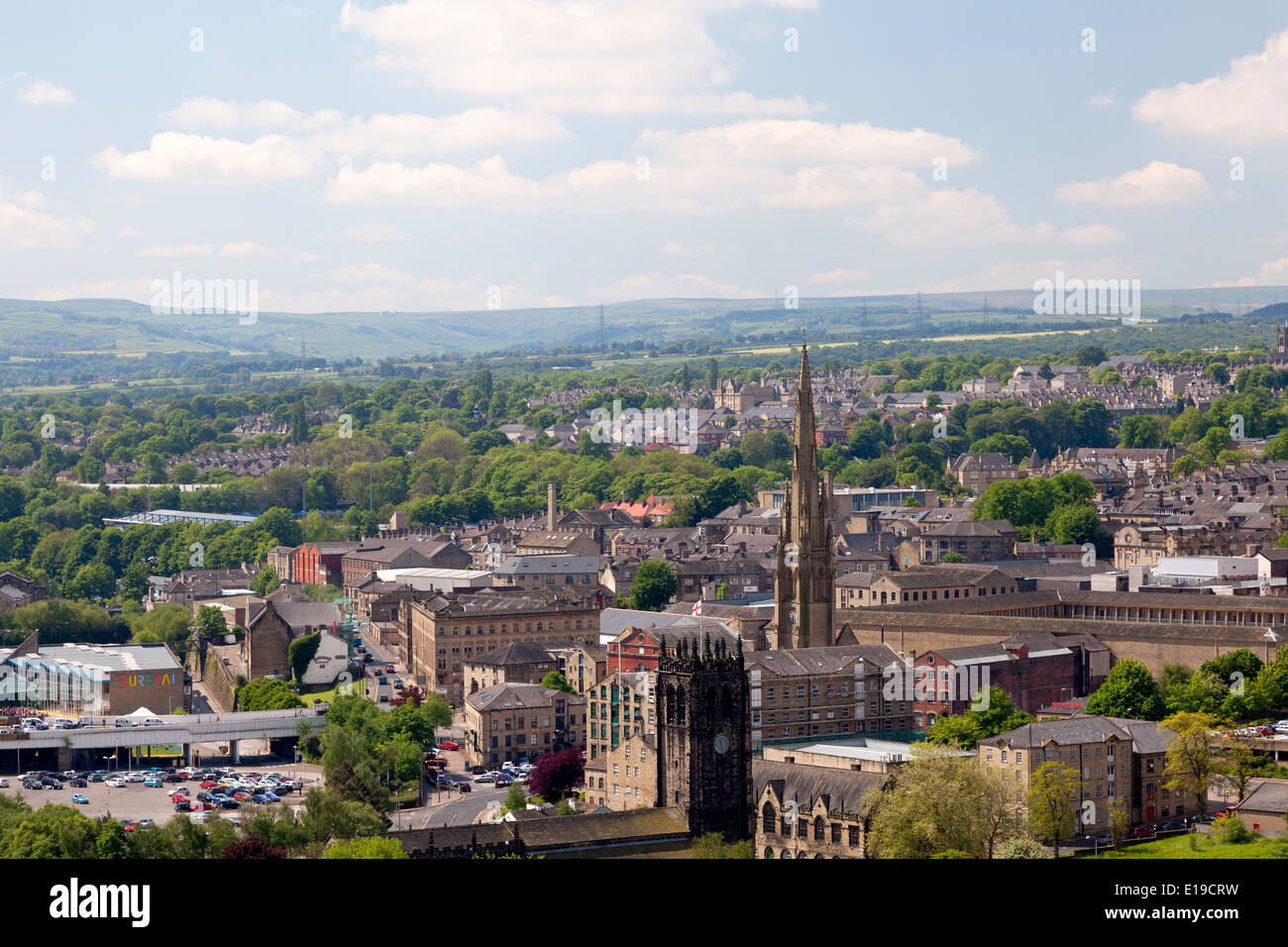 View of the town from Godley Bridge, Halifax, West Yorkshire - Stock Image