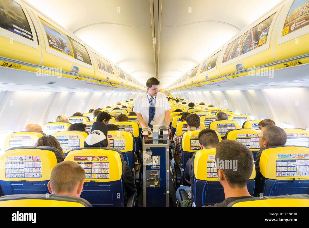 Trolley service on board a Ryanair flight, England, UK - Stock Image