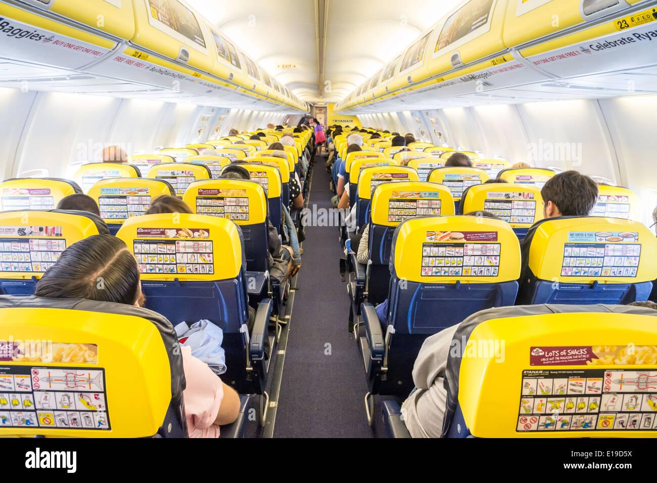 On board a Ryanair flight, England, UK - Stock Image