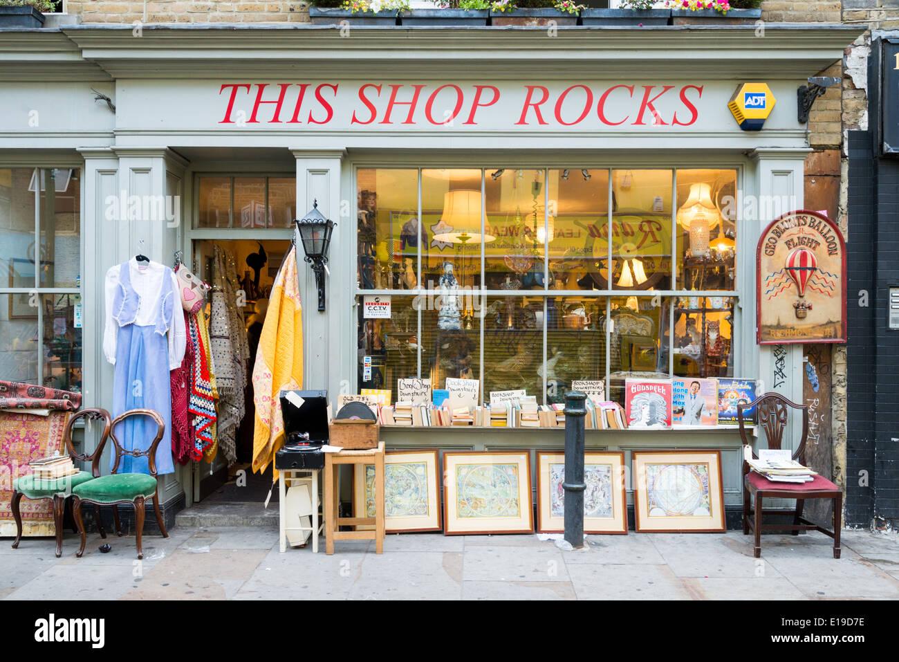 This Shop Rocks shopfront on Brick Lane, Tower Hamlets, London, England, UK - Stock Image