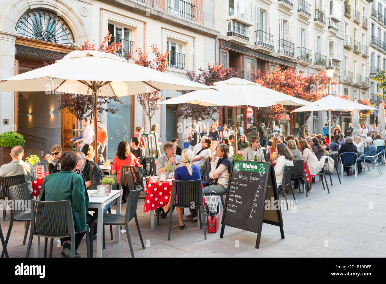 Sidewalk bars in the Plaza Angel, Huertas district, Madrid, Spain - Stock Image