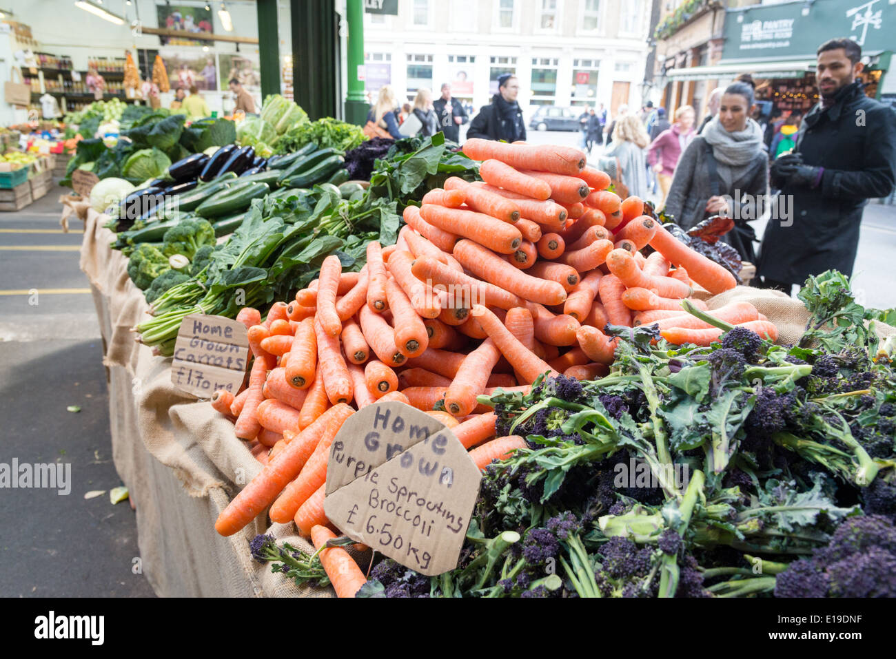 Vegetable stall in Borough Market, London, England, UK - Stock Image