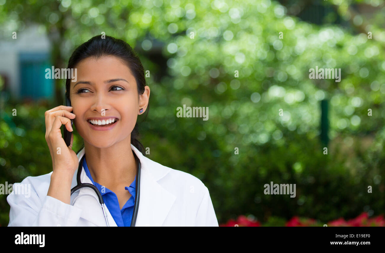 Healthcare professional on phone - Stock Image