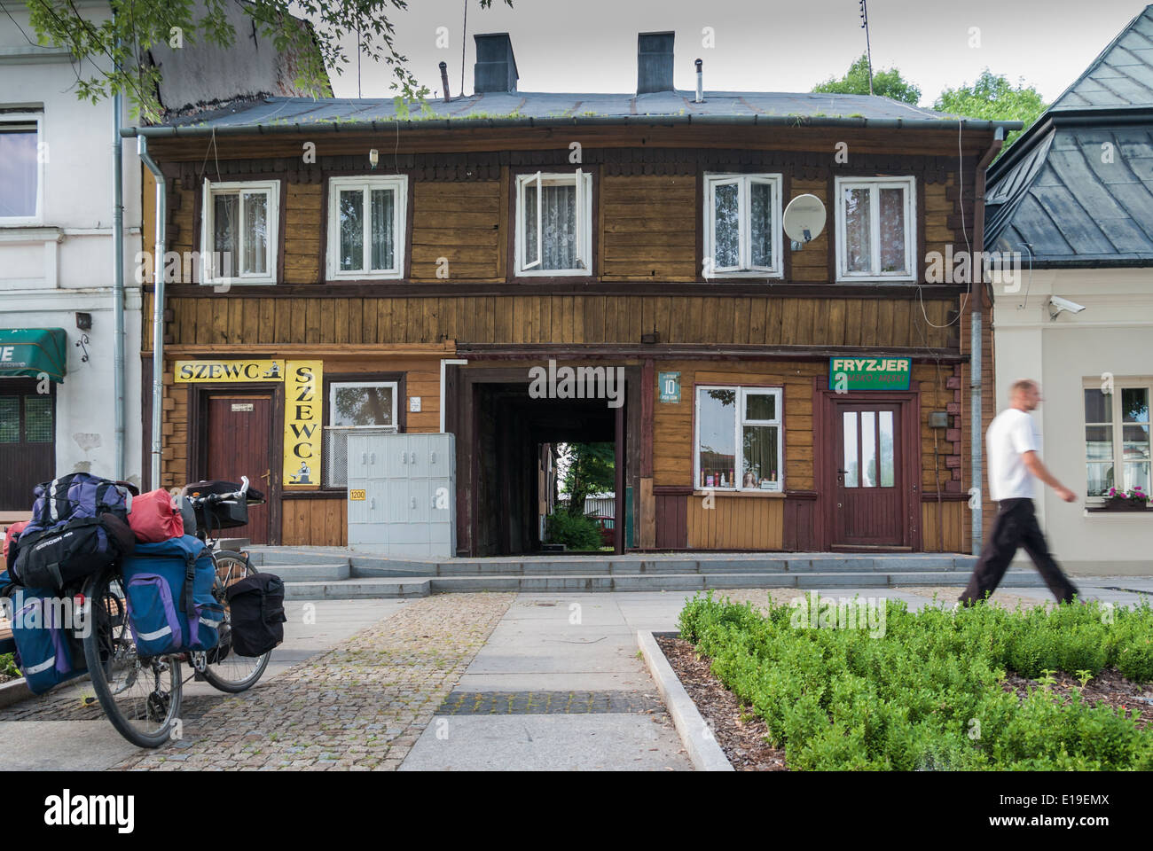 Old Wooden House at Market Square, Węgrów, central-eastern Poland - Stock Image