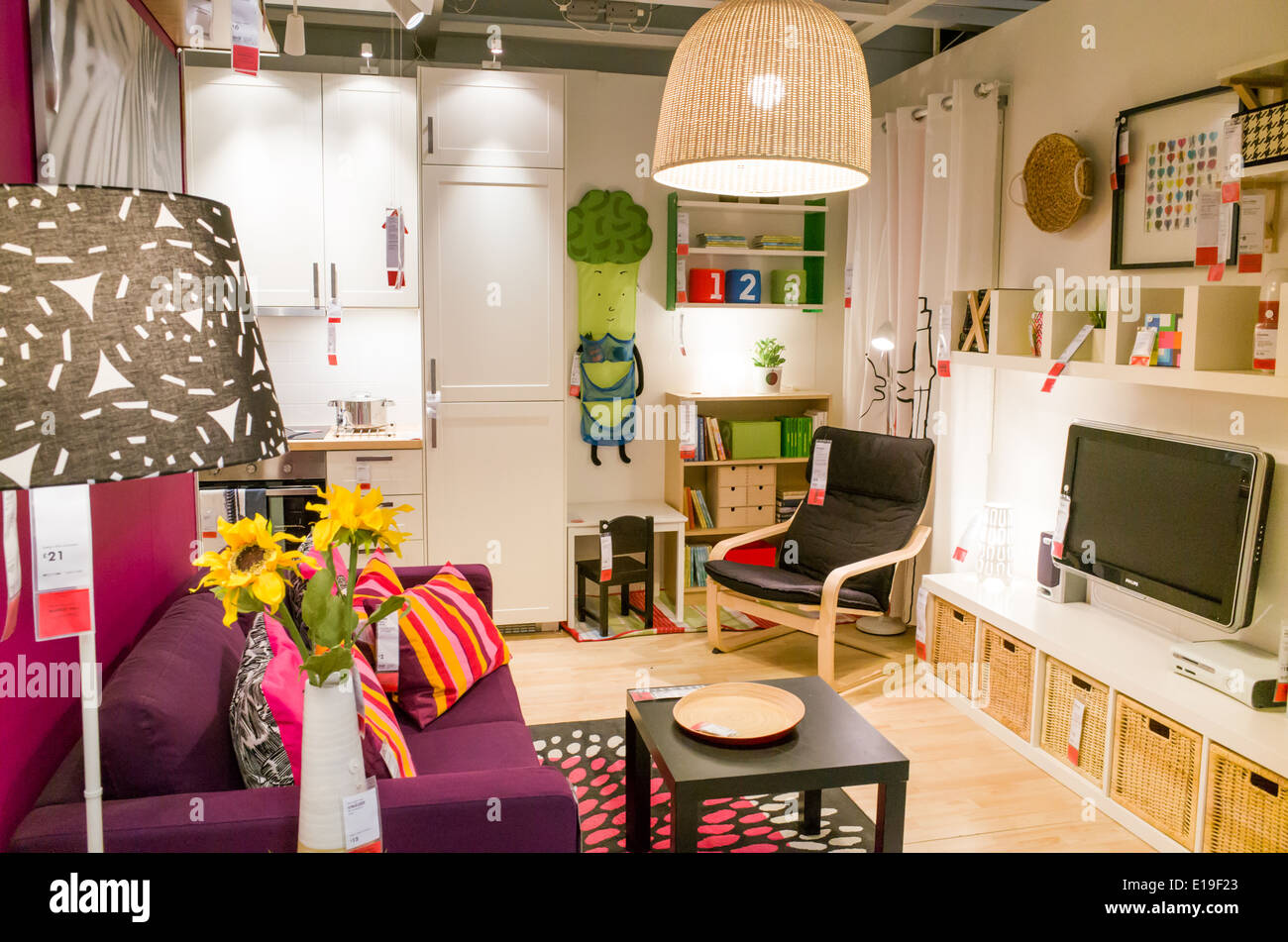 A Show Bedroom At Ikea Furniture Store, England, UK   Stock Image