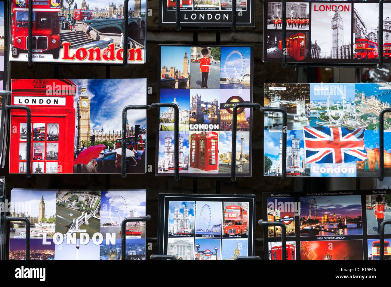 Tourist postcards of iconic London landmarks, England, UK - Stock Image