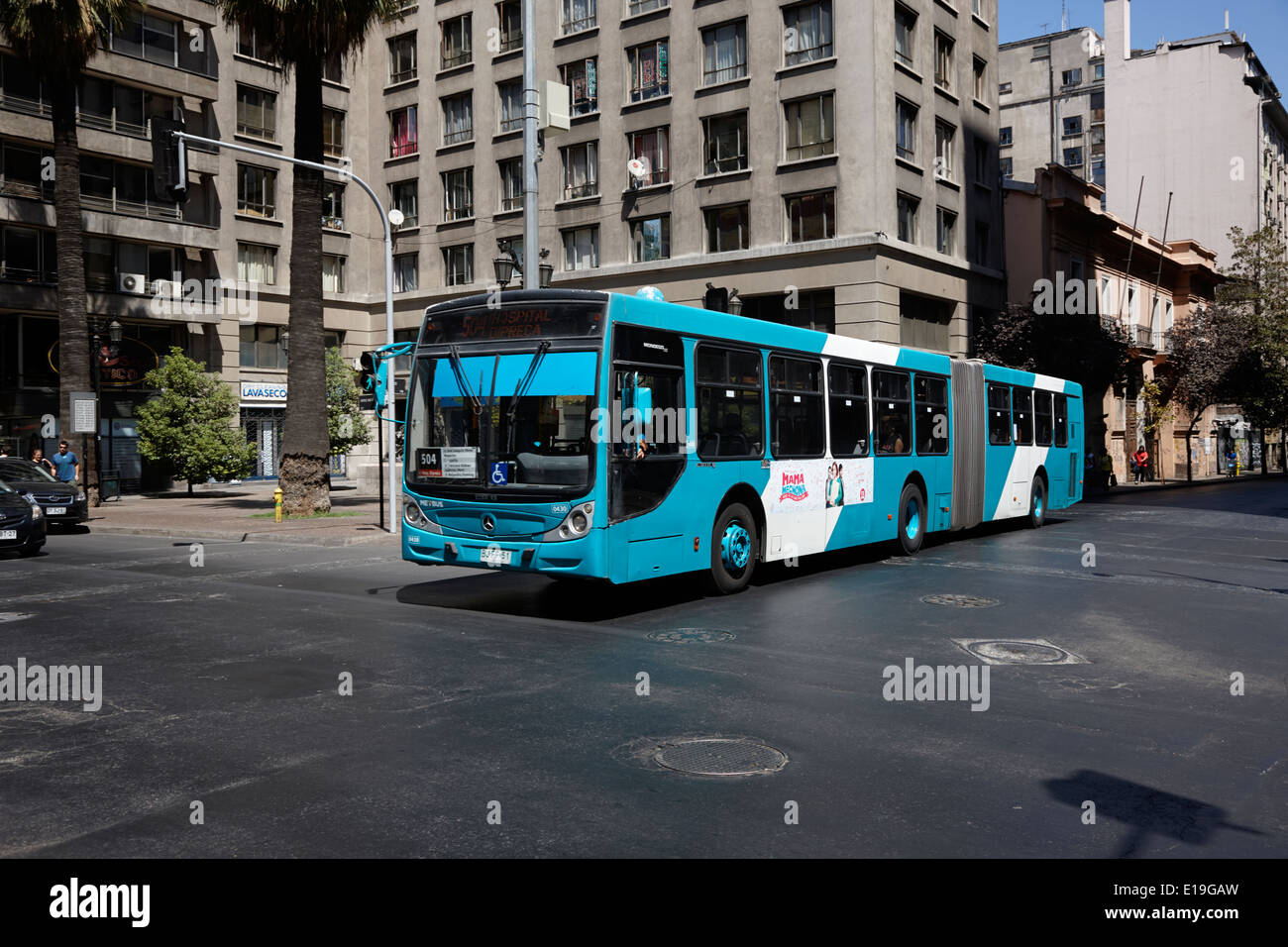city metbus bus route in the centre of Santiago Chile - Stock Image