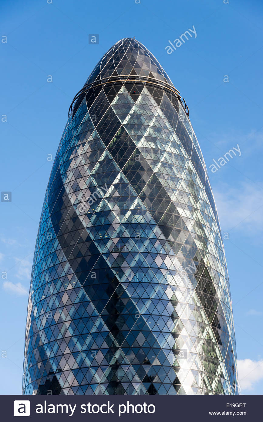 The Gherkin skyscraper in the City of London, England, UK - Stock Image