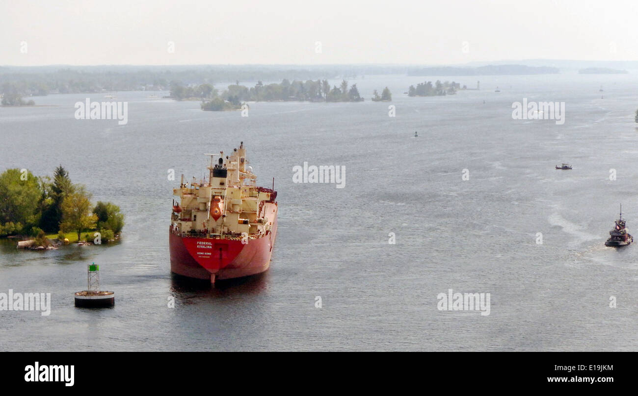 The freighter Federal Kavalina, a 656-foot Hong Kong-flagged vessel, run aground in the St. Lawrence Seaway near - Stock Image