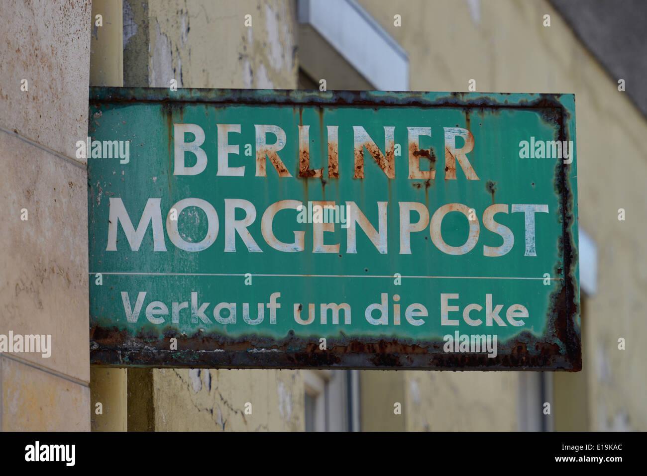 Werbung Berliner Morgenpost, Alte Jakobstrasse, Kreuzberg, Berlin, Deutschland - Stock Image