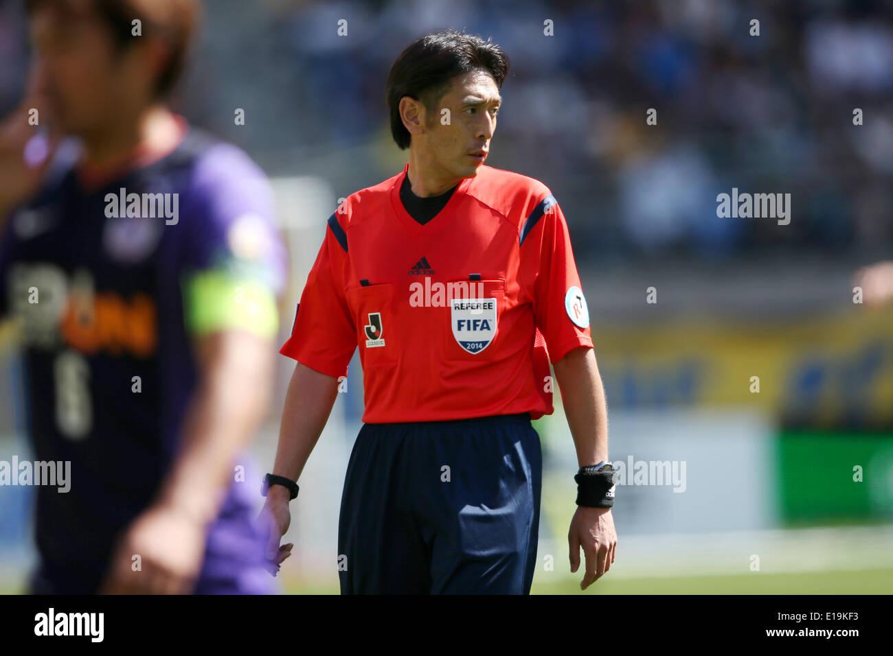 Yuichi Nishimura, MAY18, 2014 - Football/Soccer : 2014 J.League Division 1, between Vegalta Sendai 1-0 Sanfrecce Hiroshima at Yurtec Stadium Sendai, Miyagi, Japan. © Jun Tsukida/AFLO SPORT/Alamy Live News - Stock Image