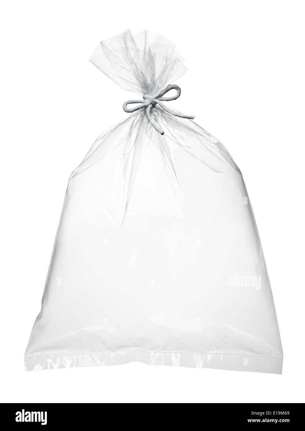 transparent plastic bag full with air isolated on white - Stock Image