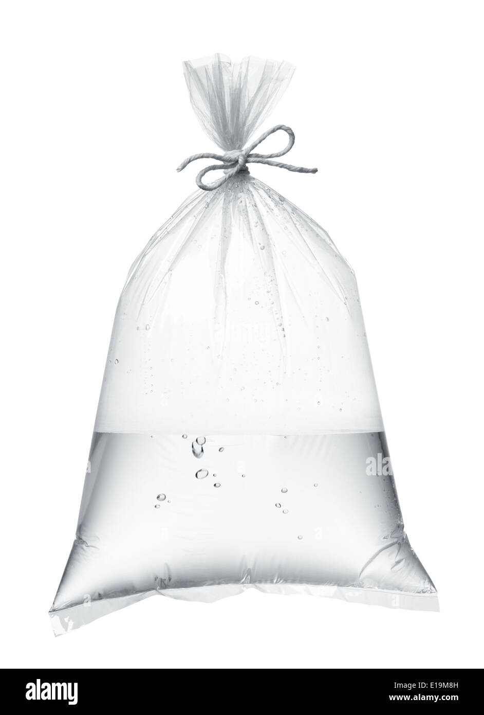 plastic bag containing water isolated on white Stock Photo