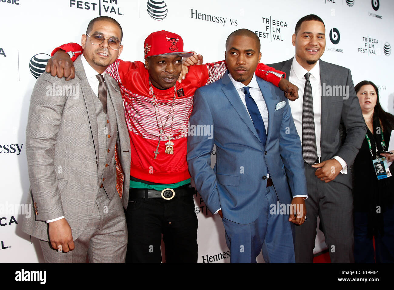 (L-R) One9, Jungle, Nas and Erik Parker attend the world premiere of 'Time Is Illmatic' at the 2014 TriBeCa Film Festival. - Stock Image