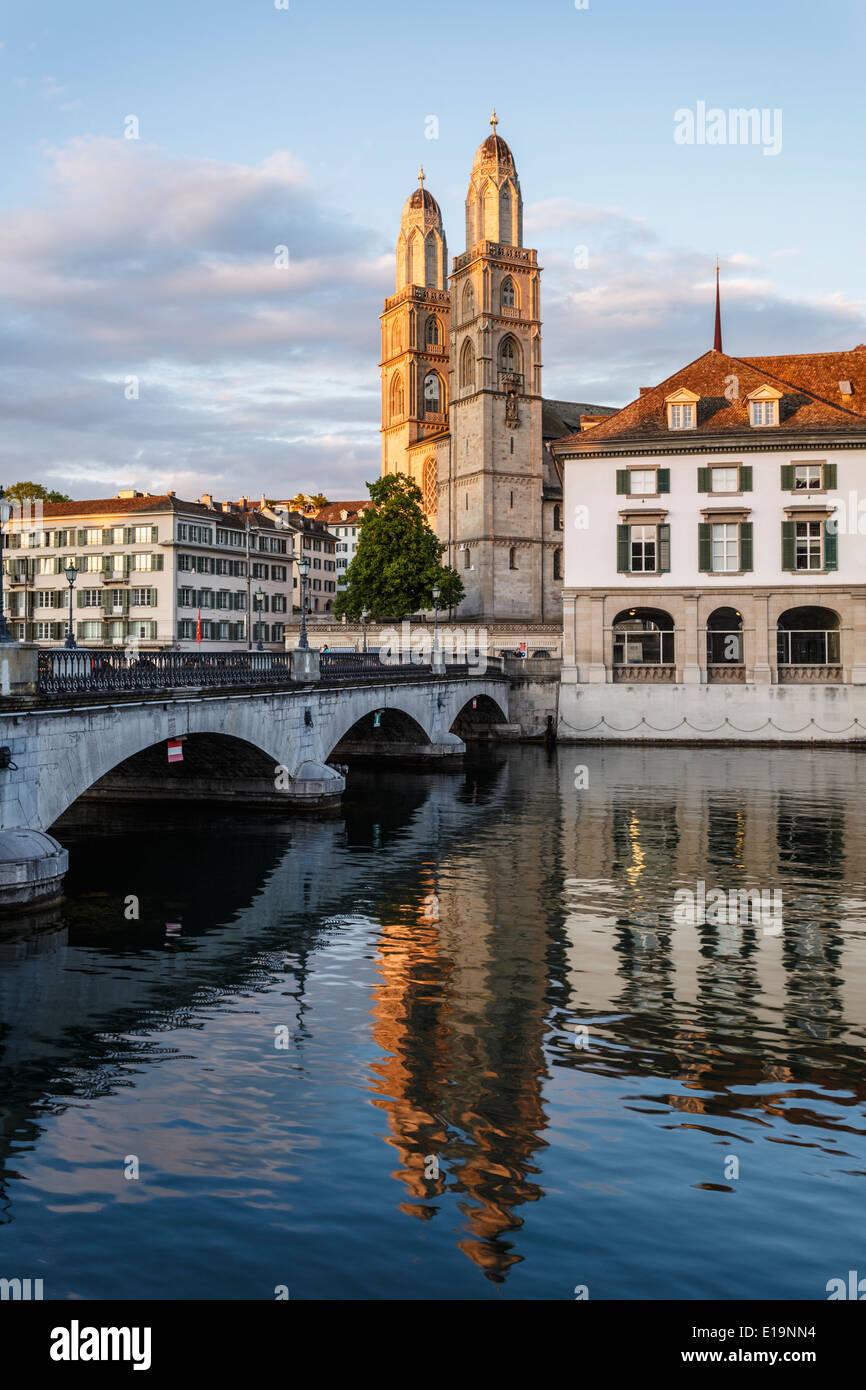 Grossmünster church and Limmat river, Zurich, Switzerland - Stock Image
