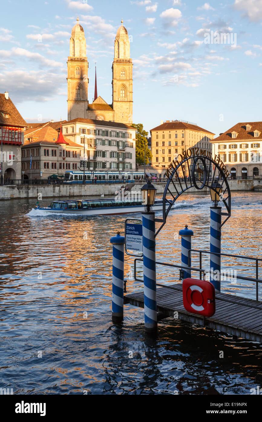 Limmat river, Grossmünster church, Zurich, Switzerland. - Stock Image