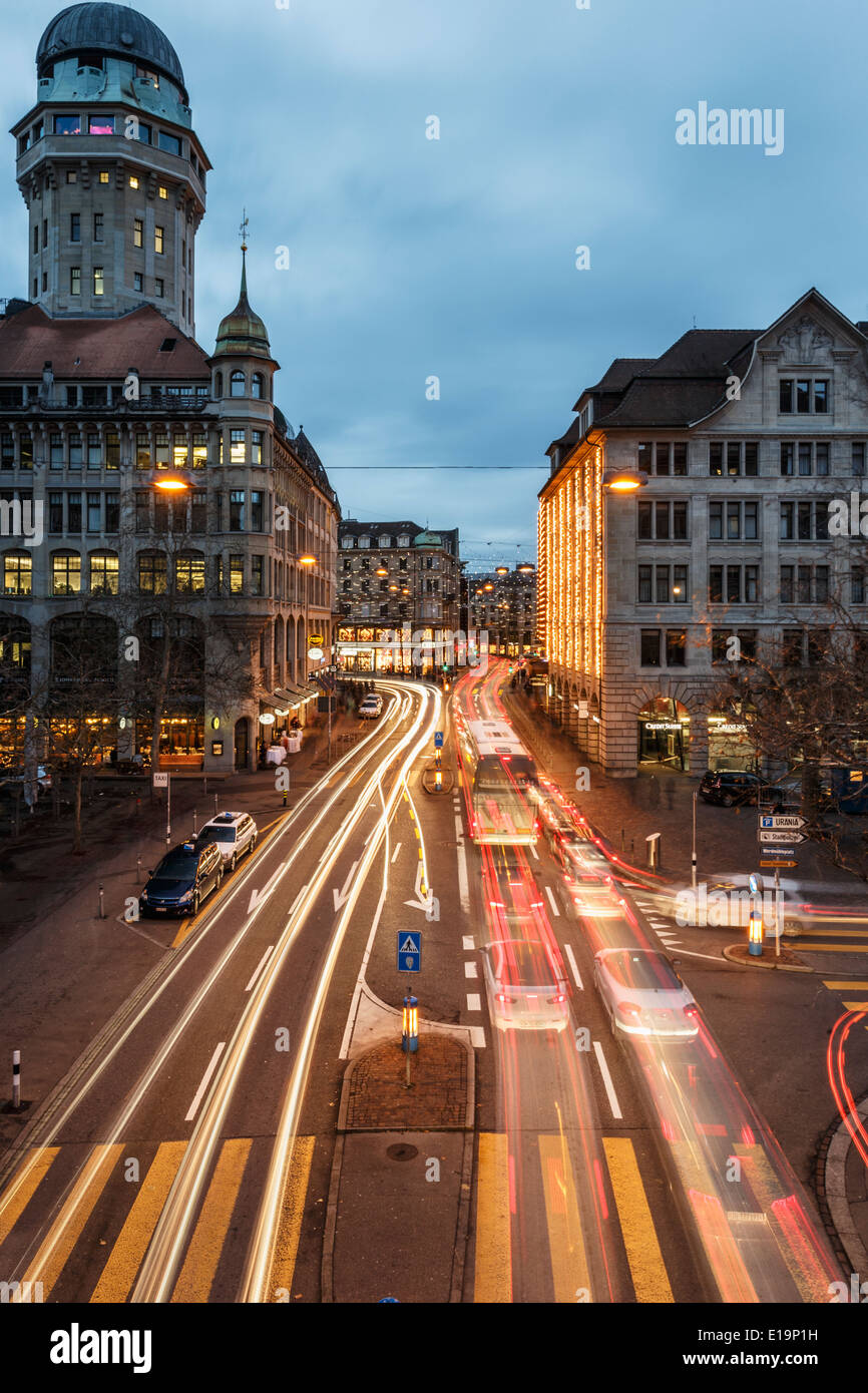 Long time exposure, Rush hour in Zurich, Switzerland. - Stock Image
