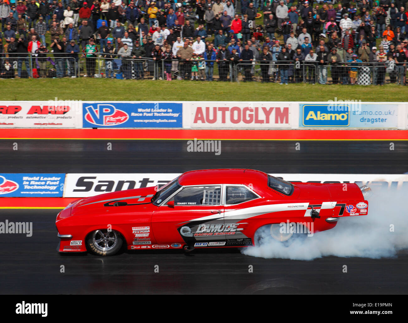 Red Victor III drag racing at Santa Pod, the worlds fastest