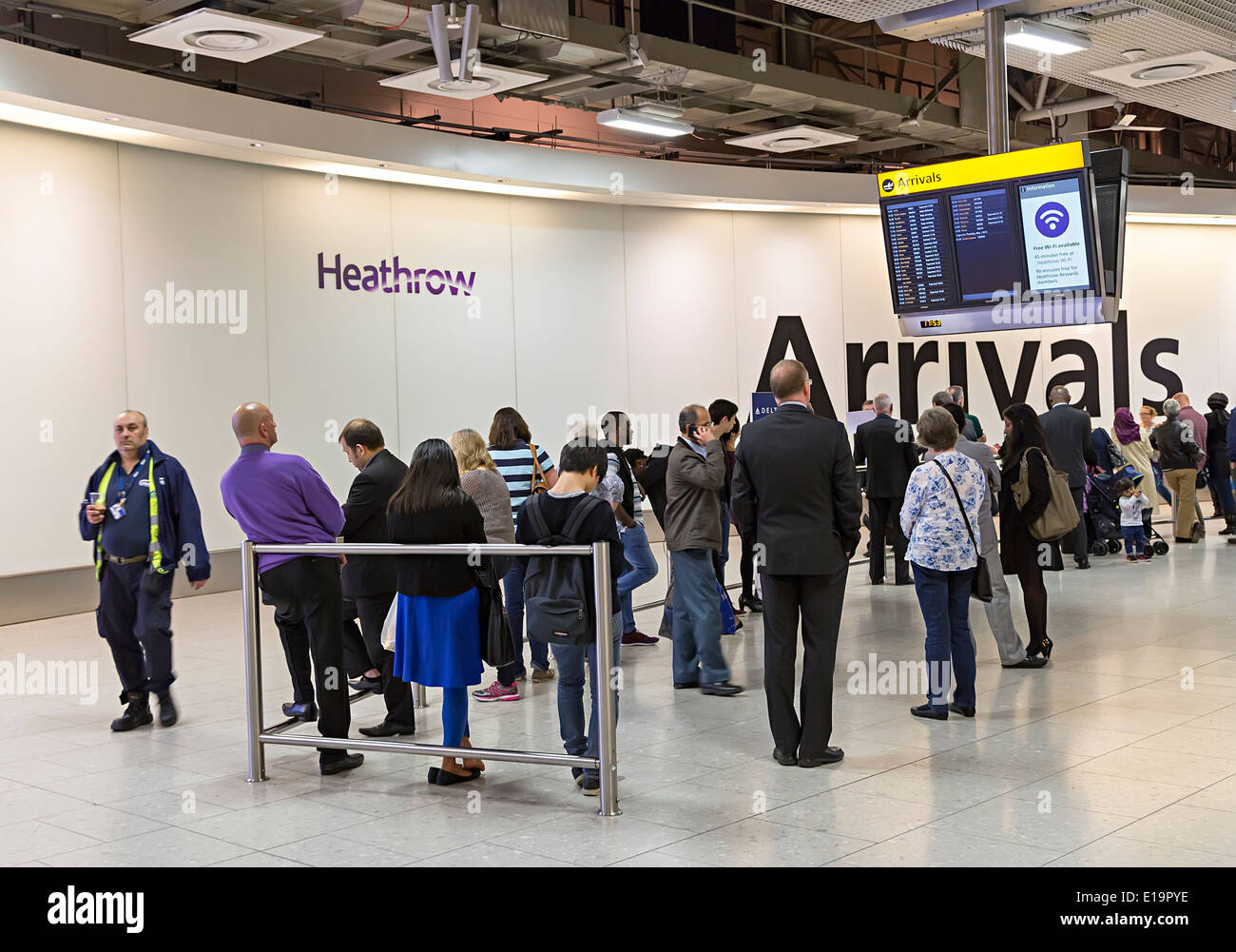 Heathrow airport arrivals concourse, London, England - Stock Image