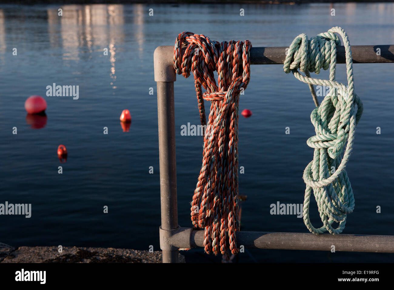 Tied rope to a metal post, without people. - Stock Image