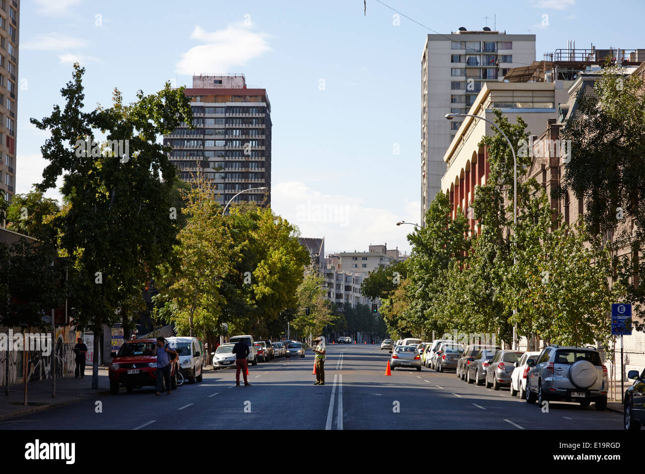 avenida portugal wide city street in Santiago Chile - Stock Image