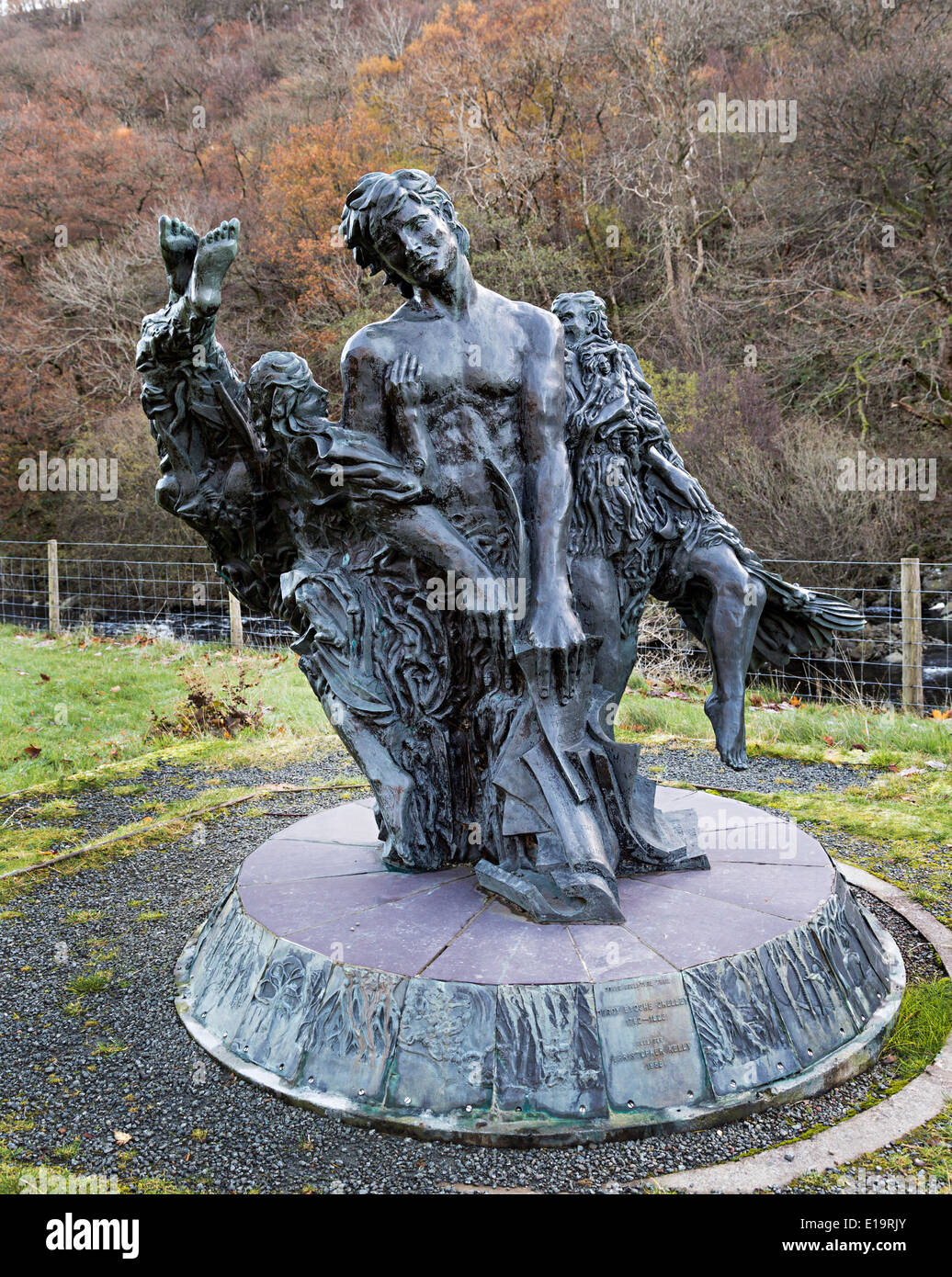 Statue of poet Shelly at Elan Valley reservoir Powys Wales UK - Stock Image