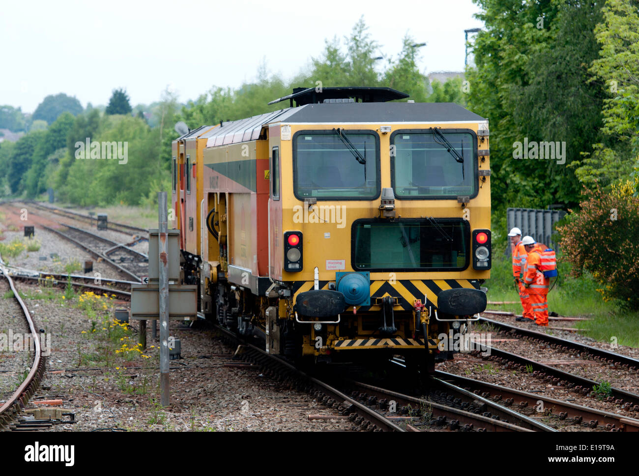 Colas Rail line tamper DR 73806 'Karine' at Stourbridge Junction, West Midlands, UK - Stock Image