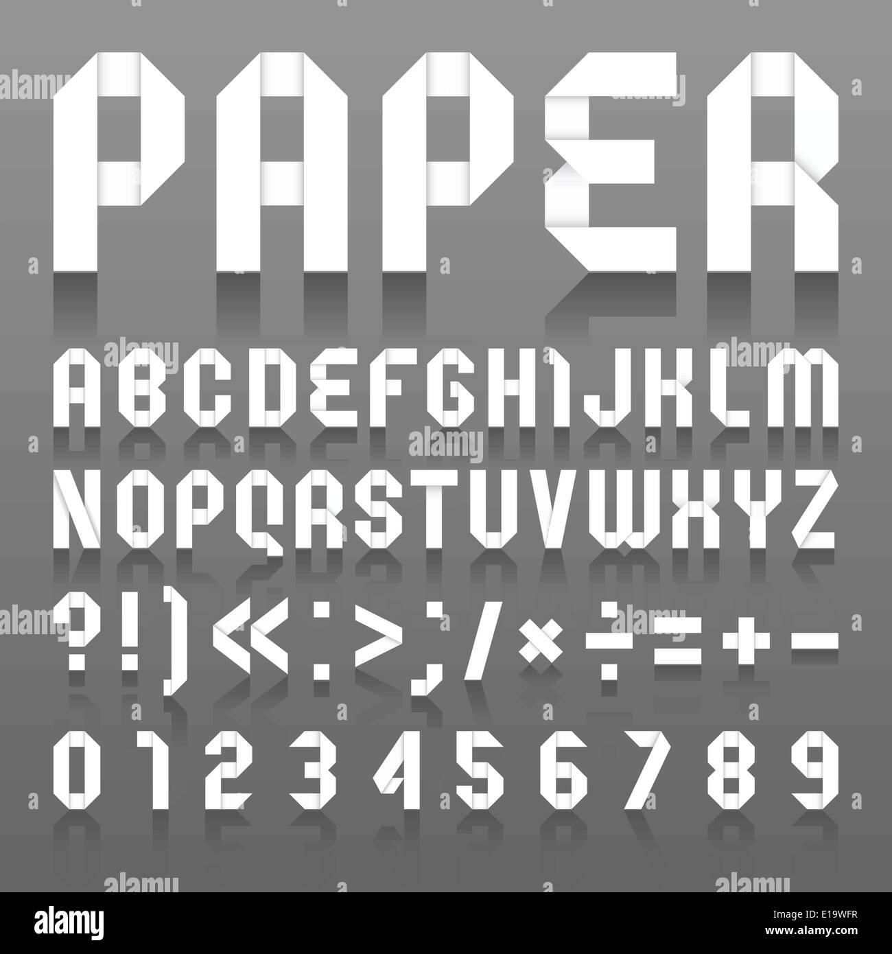 Alphabet folded of paper roman alphabet a b c d e f g h i j k l m n o p q r s t u v w x y