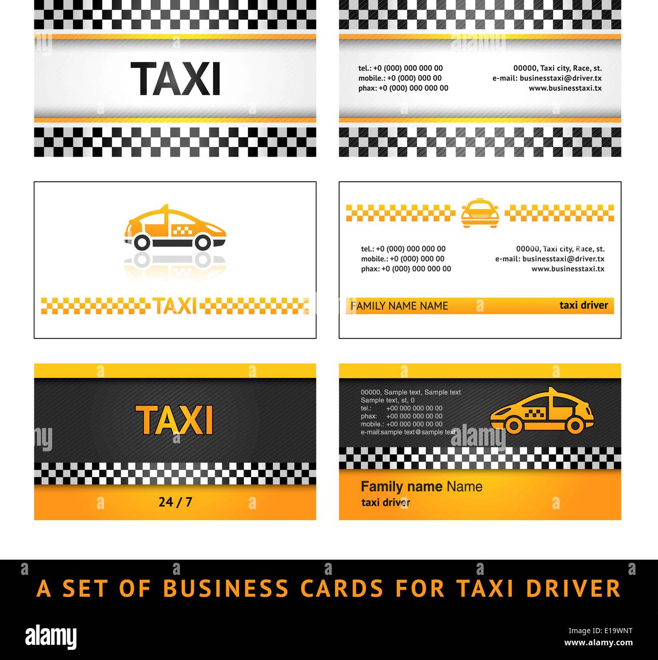 Business Card Taxi First Set Card Taxi Templates Stock Vector Art