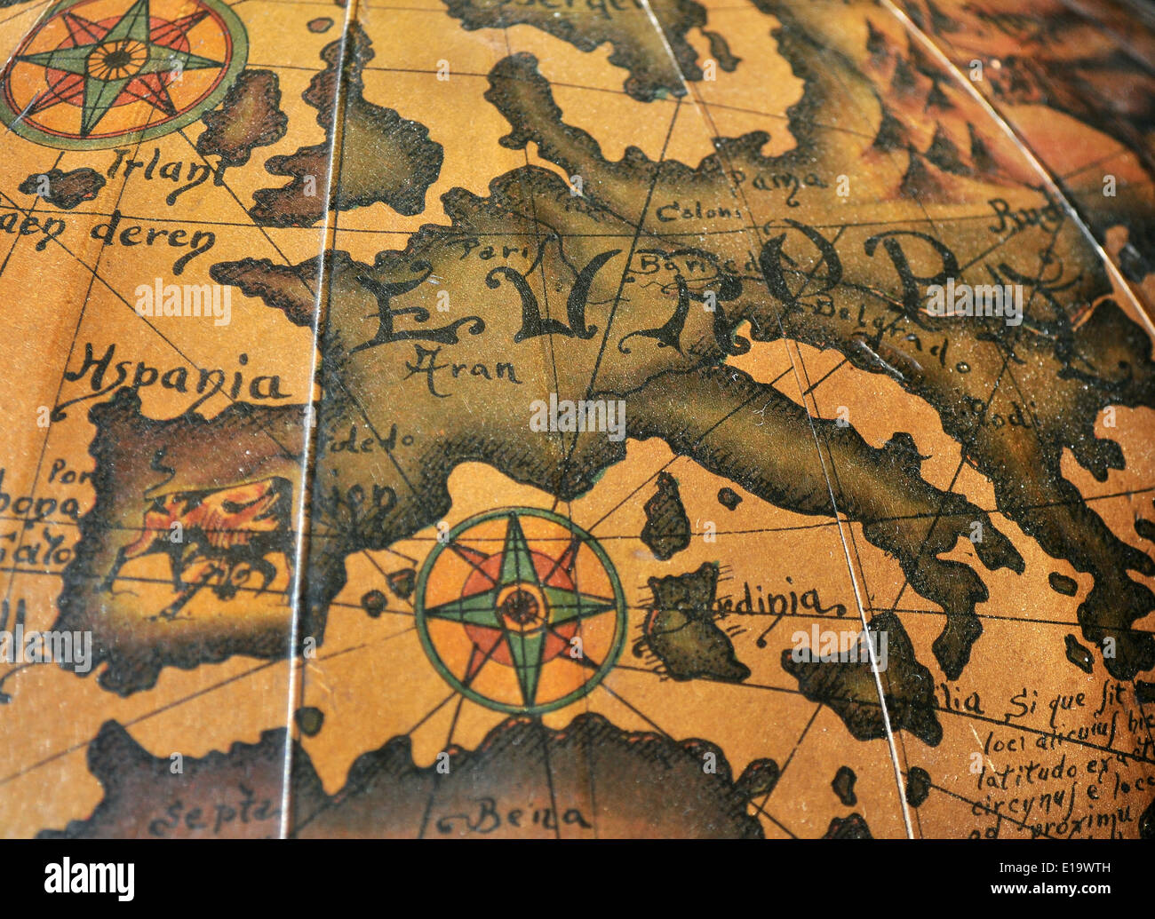 Old map of Europe with Wind Rose Stock Photo