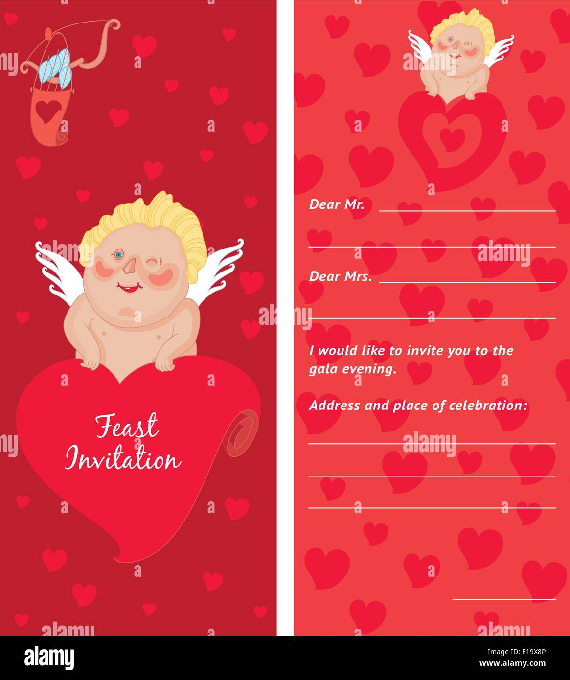 cupid with a letter invitation template valentine s day postcard