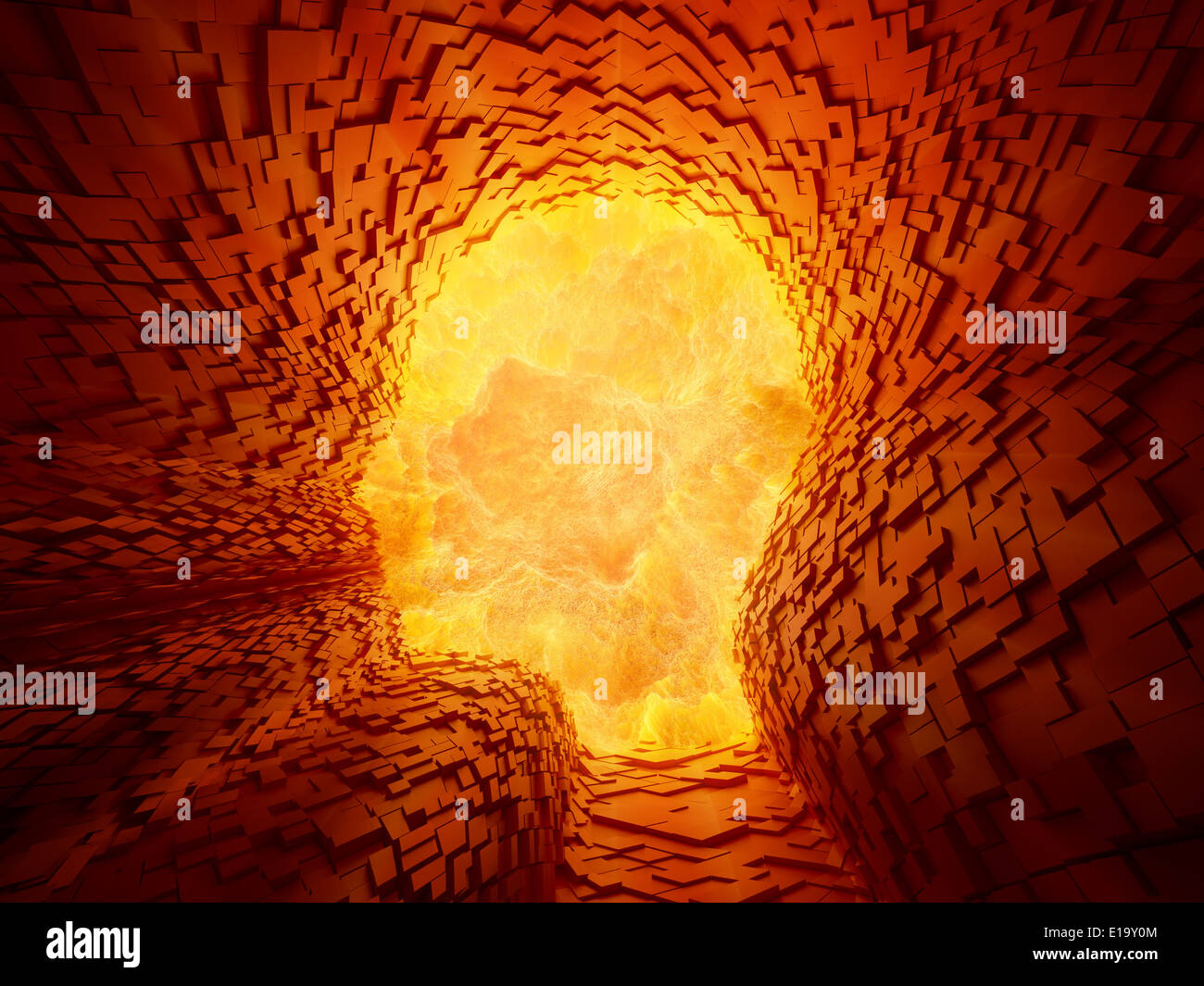 A violent explosion inside a face shaped tunnel - Stock Image
