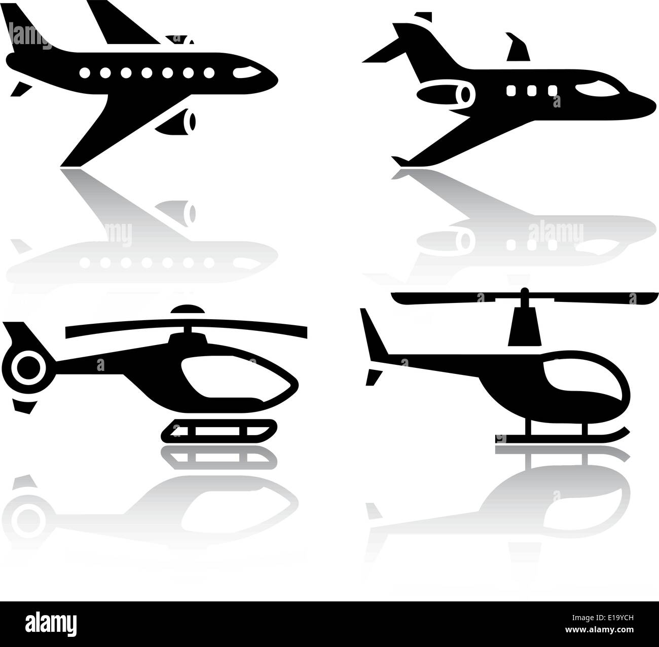 Set of transport icons - airbus and helicopter - Stock Vector