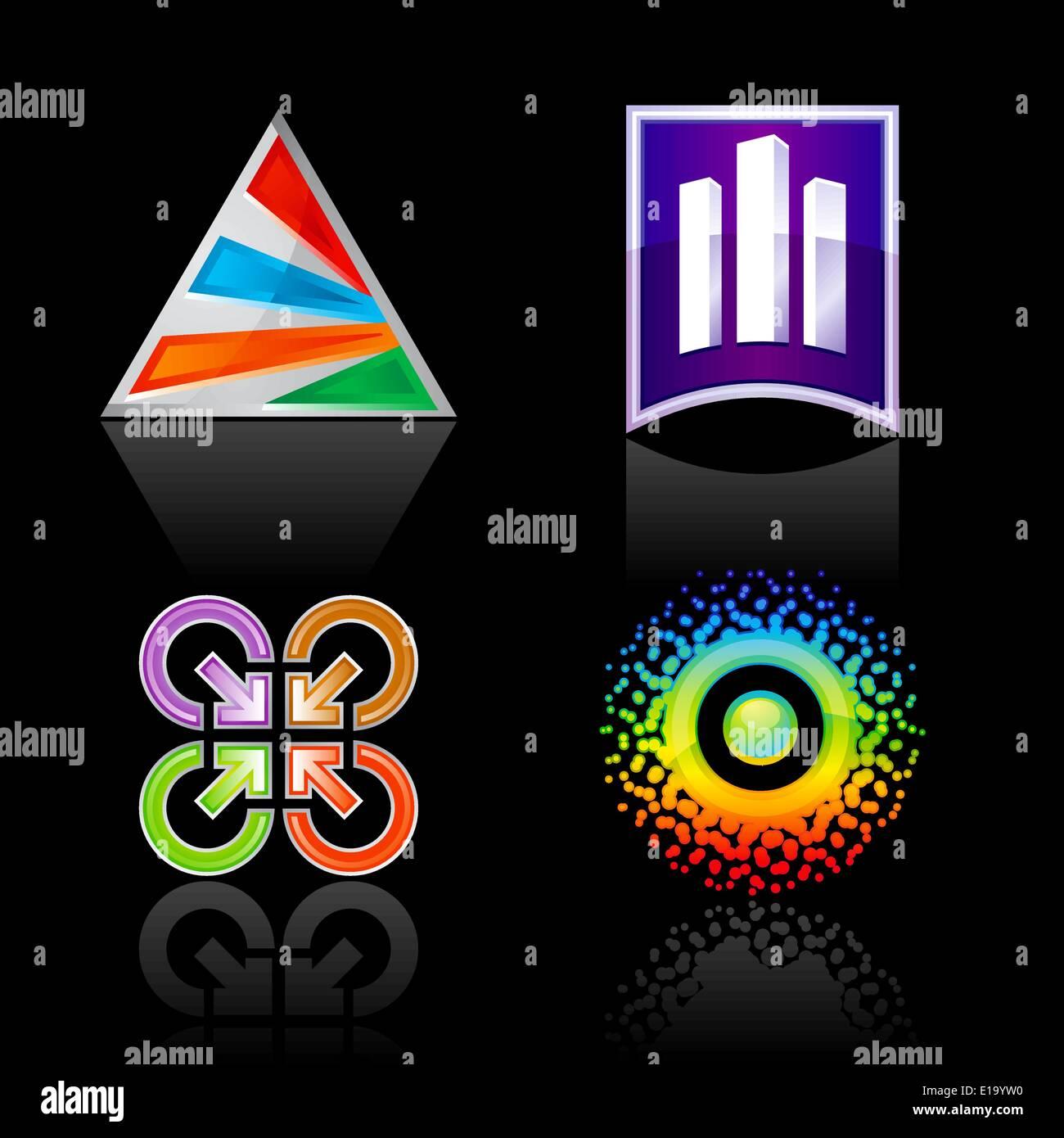 Set symbol for logo designing, on a black background. The emblems for your business logotypes design - Stock Vector