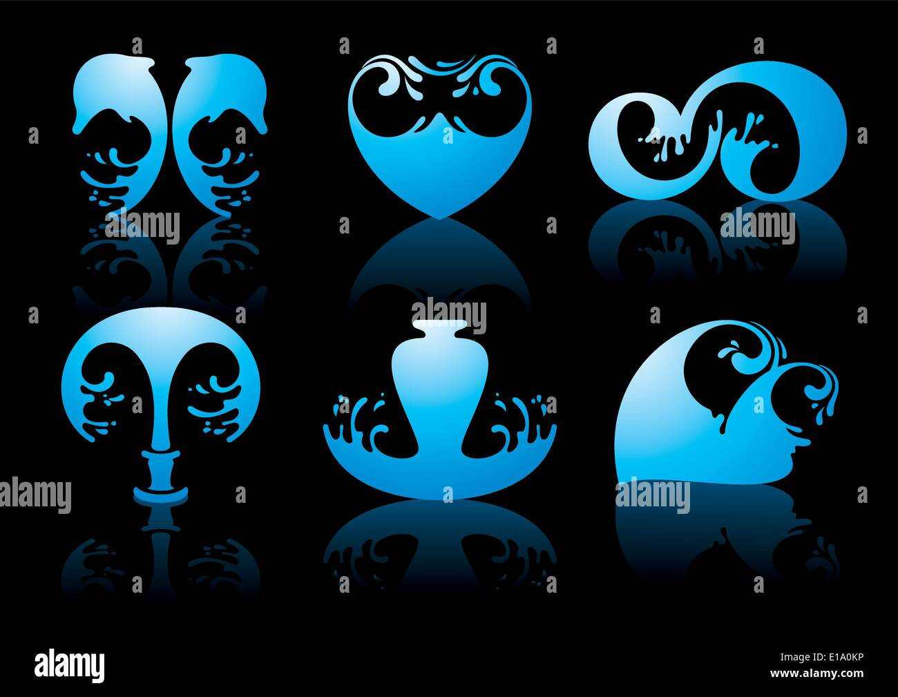Symbols of water reflection on black background vector - Stock Vector