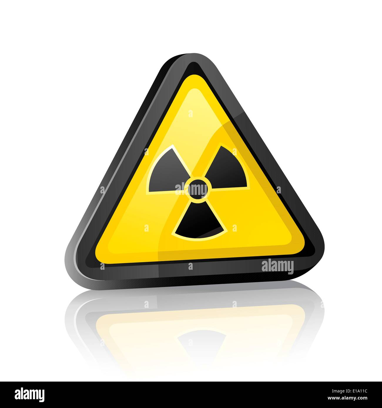 Three-dimensional Hazard warning sign with radiation symbol on white background with reflection Stock Vector