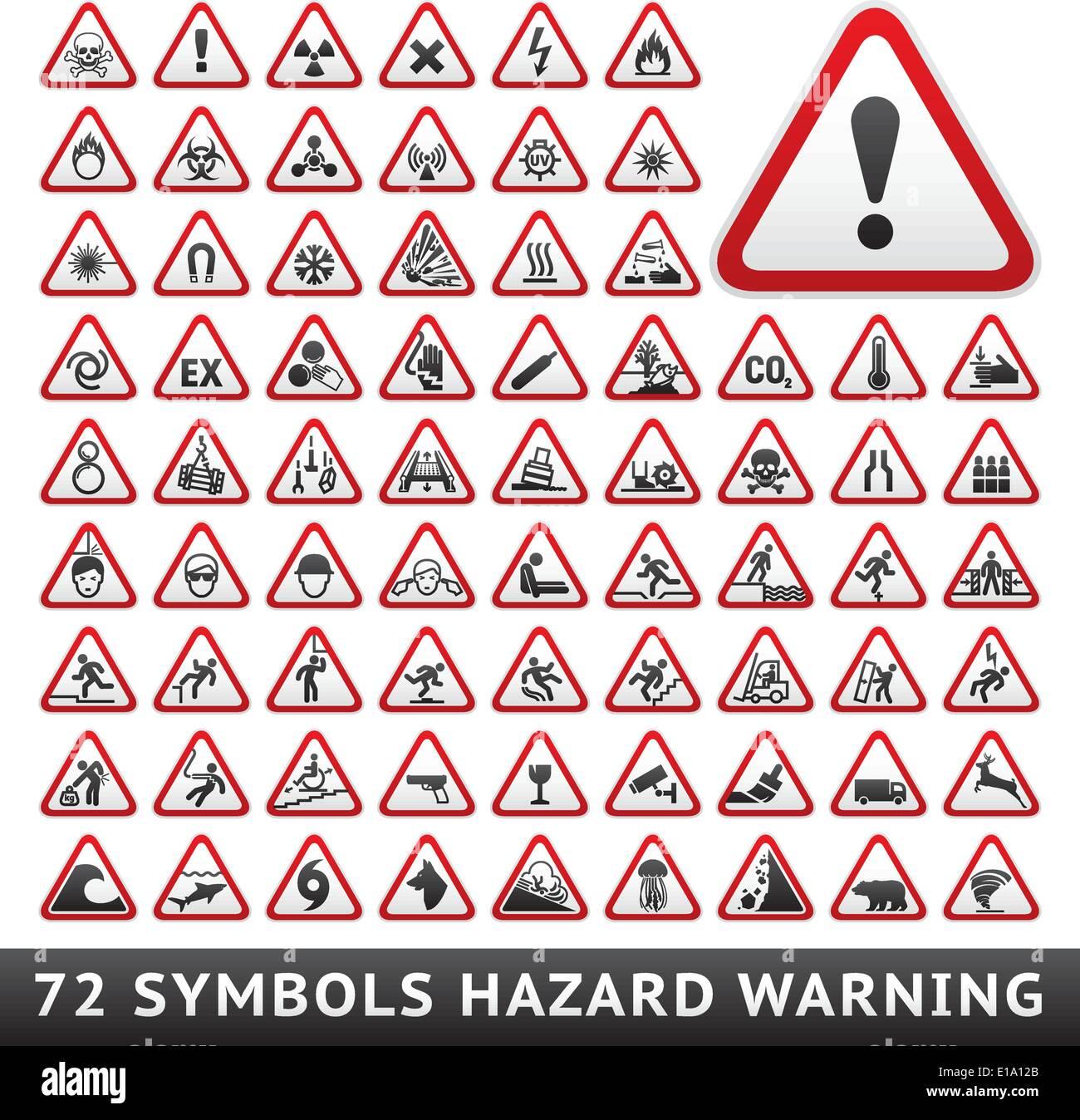 Triangular Warning Hazard Symbols. Big red set, vector illustration Stock Vector