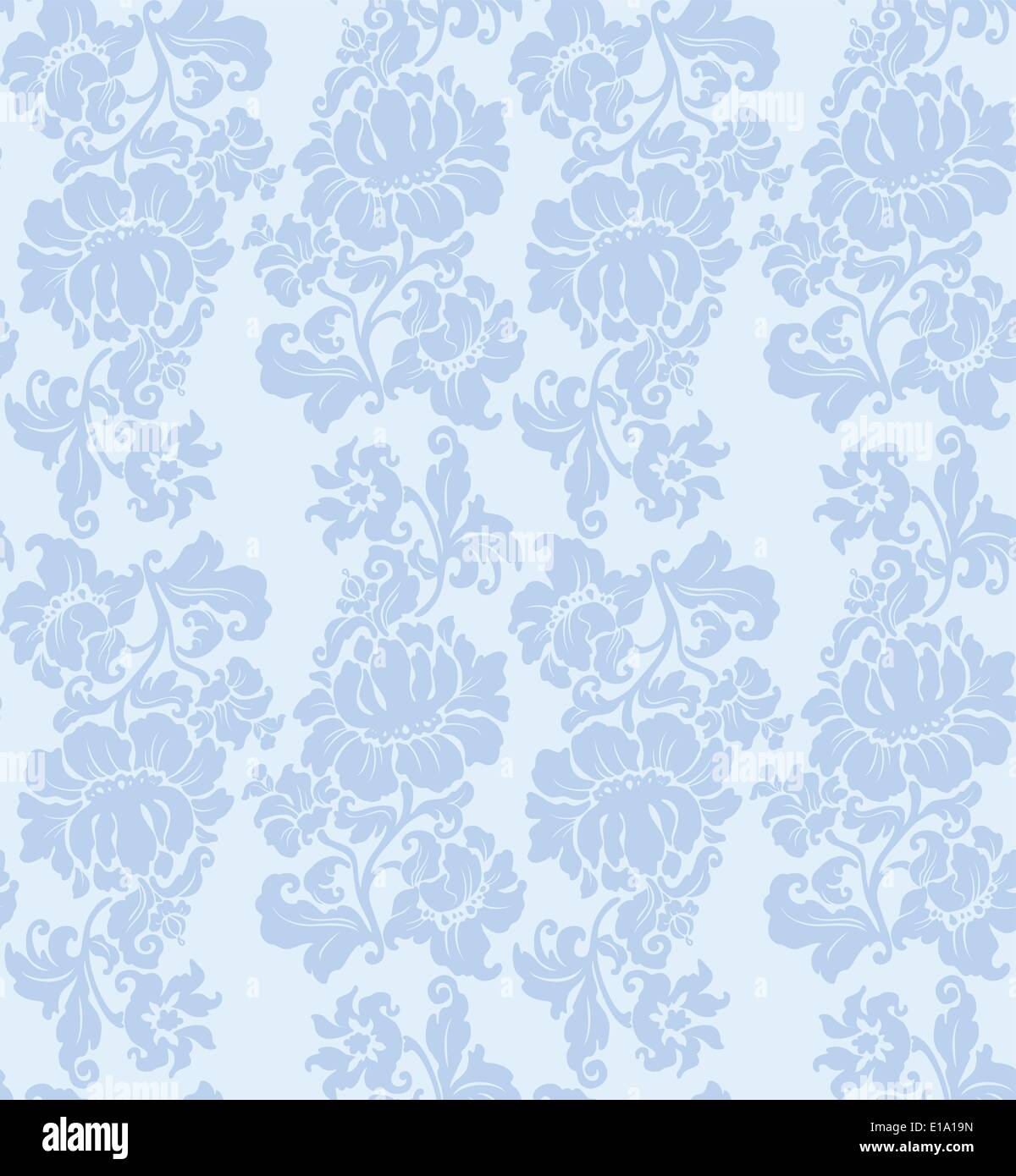 Vector pattern, floral blue - Stock Vector
