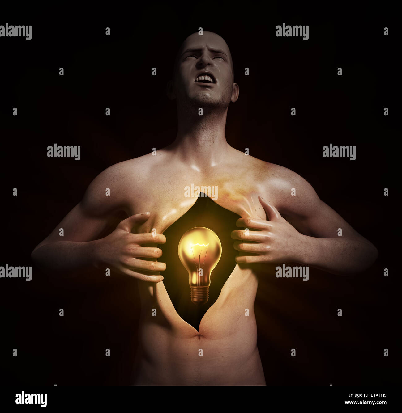 A glowing bulb inside an open chest - Stock Image