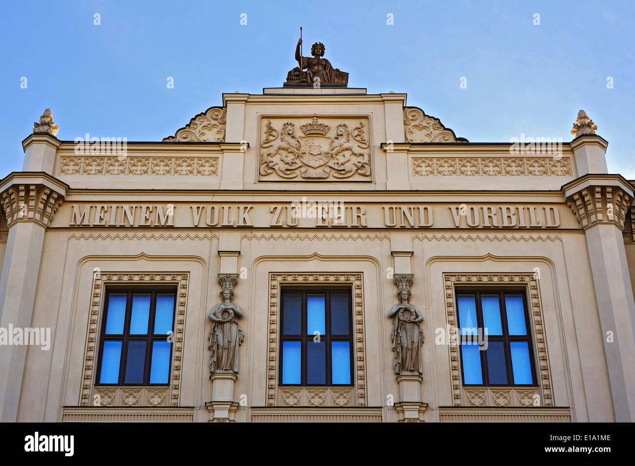 Gable figure and coat of arms, Museum of Ethnology, Munich, Bavaria, Germany - Stock Image