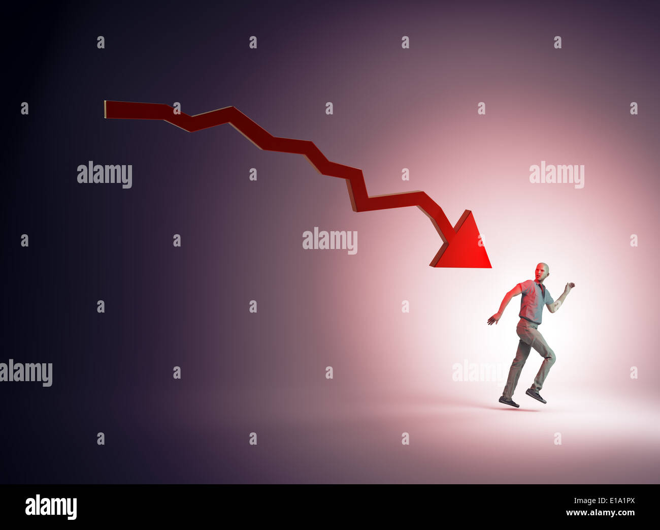 Man running away from a dropping chart - Stock Image