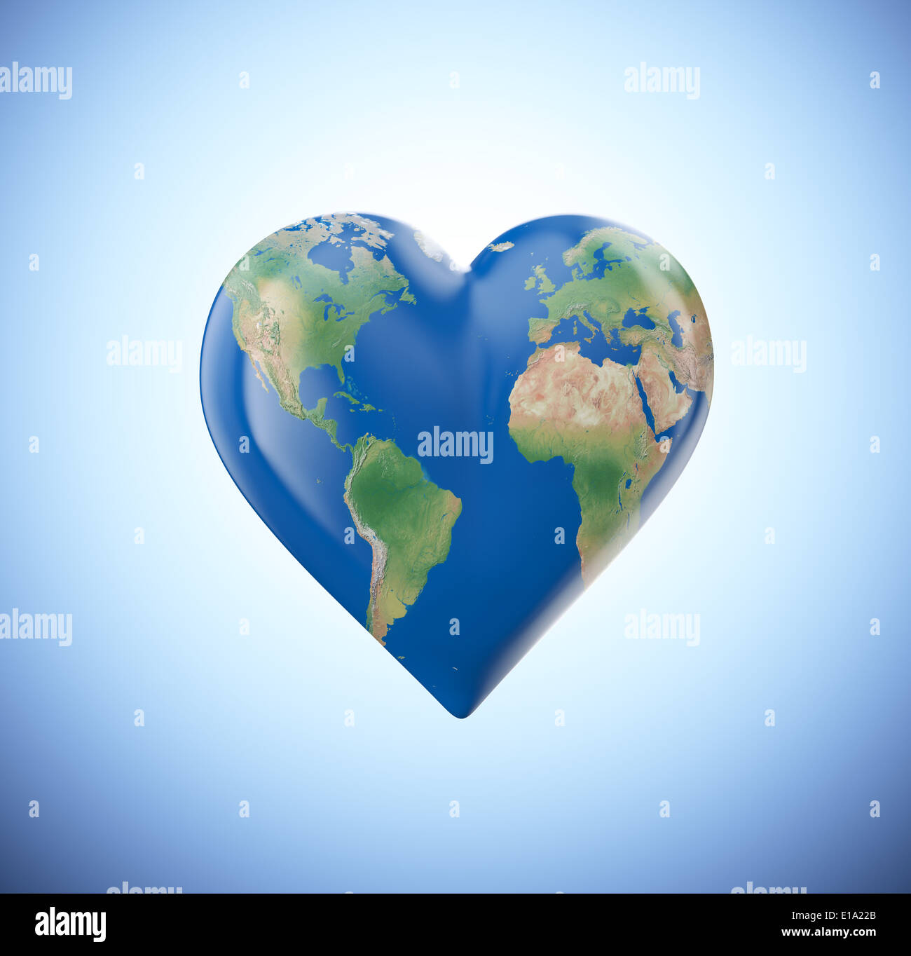 heart shaped globe with a visible world map stock image