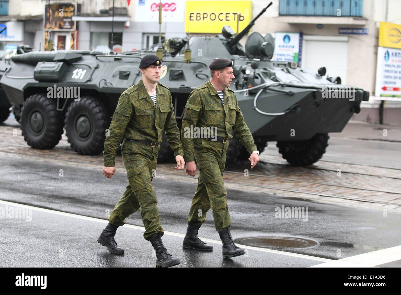 Kaliningrad, RUSSIA. 9th May, 2014. Kaliningrad, Russia 9th, May 2014 Russian Army soldiers are seen during a large military parade in Kaliningrad, Russia, to mark Victory Day, May 9, 2014. Thousands of Russian troops marched today throughout the country to mark 69 years since victory in World War II in a show of military might amid tensions in Ukraine following Moscow's annexation of Crimea. © Michal Fludra/NurPhoto/ZUMAPRESS.com/Alamy Live News - Stock Image