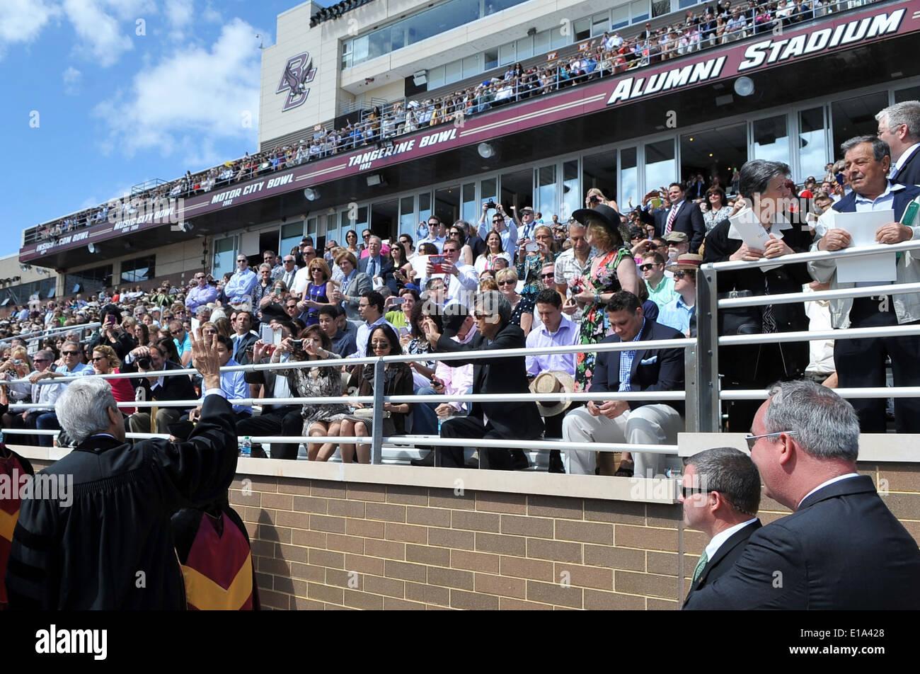 Secretary Kerry Waves to Families, Friends of Boston College Graduates - Stock Image