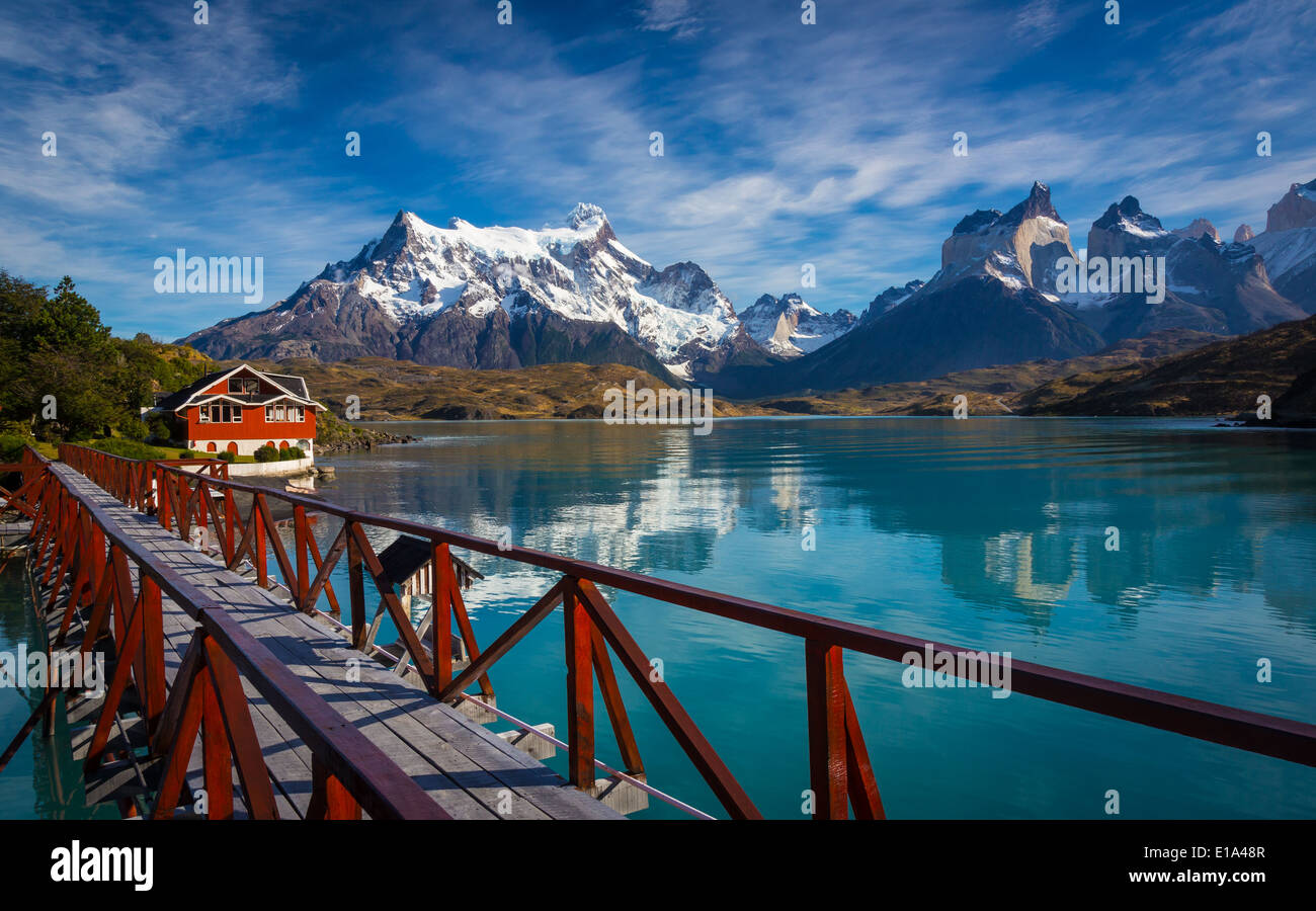Torres del Paine National Park encompasses mountains, glaciers, lakes, and rivers in southern Chilean Patagonia - Stock Image