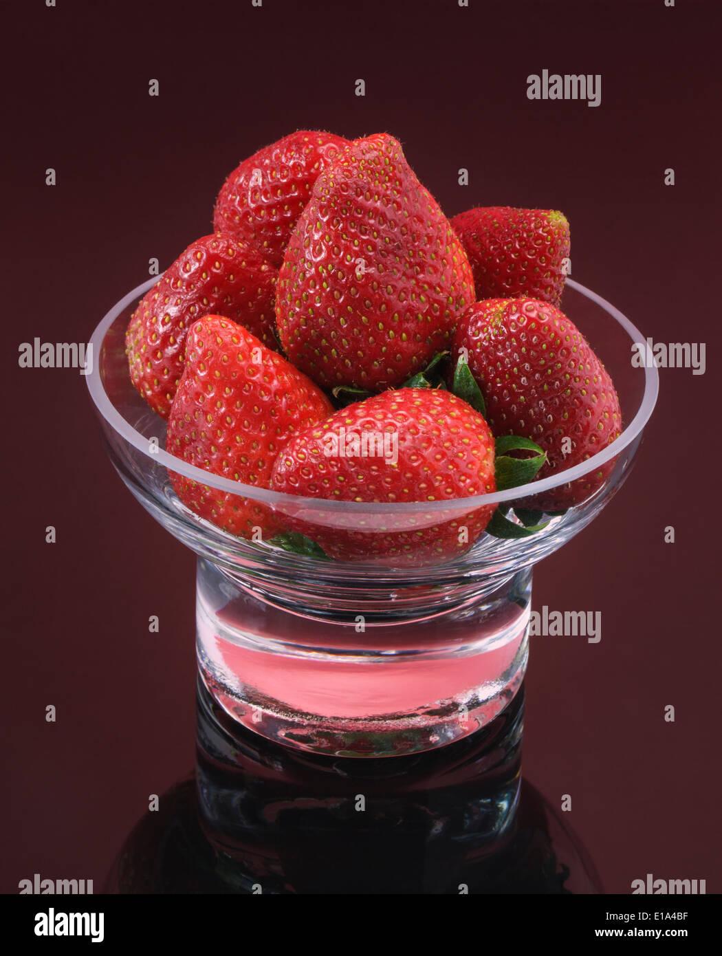 Fresh Strawberries in Glass Dish - Stock Image