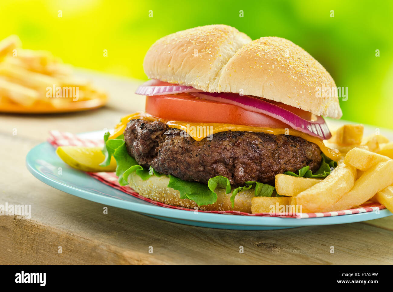 A delicious grilled cheeseburger and fries in an outdoor picnic barbecue setting. - Stock Image