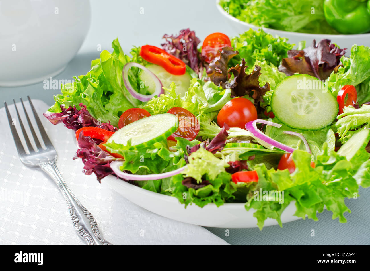 A mixed salad with lettuce, cucumber, tomatoes, red pepperm and red onion. - Stock Image
